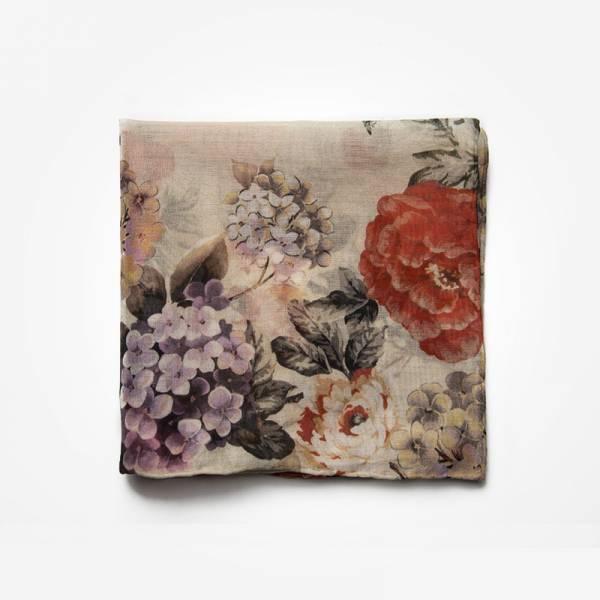 Poszetka AUTUMN FLOWERS Marthu Ozdobna chusteczka do marynarki Poszetka bawełniana w kwiaty. Poszetka beżowa do garnituru.