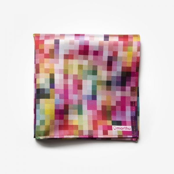 Poszetka PIXEL Marthu Ozdobna chusteczka do marynarki Poszetka satynowa w piksele, kwadraty. Poszetka różowa do garnituru.