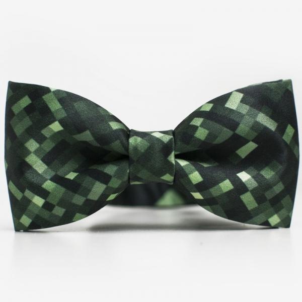 Mucha GREEN PIXEL Marthu. Muszka satynowa w kwadraty, kratkę. Mucha zielona regulowana zapinana