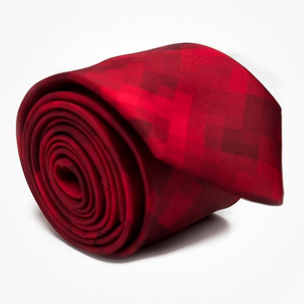 Krawat RED PIXEL Marthu. Krawat satynowy w kwadraty, piksele. Krawat czerwony na wesele do garnituru. Modne krawaty