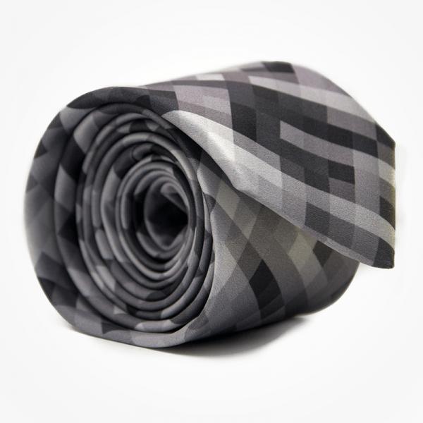 Krawat GRAY PIXEL Marthu. Krawat satynowy w kwadraty, piksele. Krawat szary na wesele do garnituru. Modne krawaty