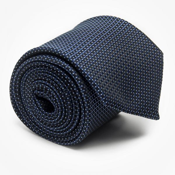 Krawat CONSTELATIONS Marthu. Krawat żakardowy w kropki. Krawat granatowy na wesele do garnituru. Modne krawaty