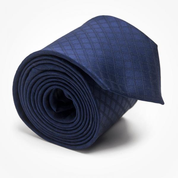 Krawat INVISIBLE PLAIDE Marthu. Krawat żakardowy w kratkę. Krawat granatowy na wesele do garnituru. Modne krawaty