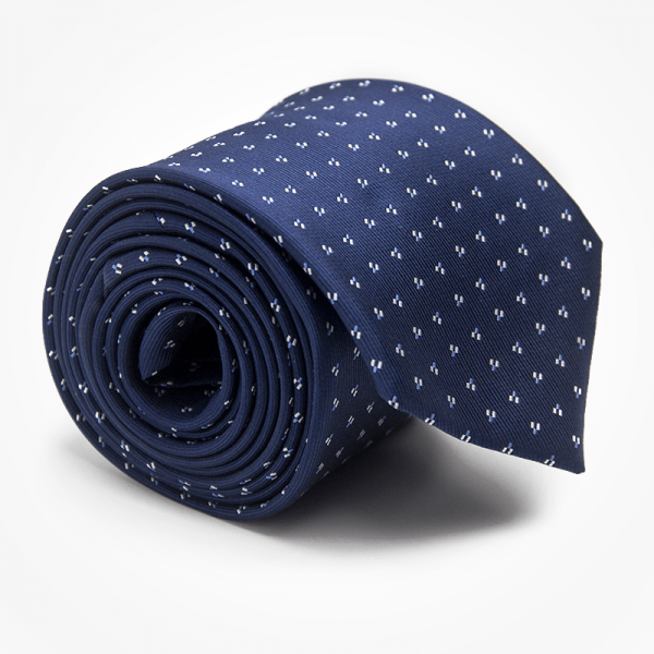 Krawat ERIC Marthu. Krawat żakardowy w kropki. Krawat granatowy na wesele do garnituru. Modne krawaty