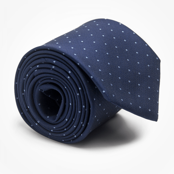 Krawat MINDNIGHT SNOW Marthu. Krawat żakardowy w kropki. Krawat granatowy na wesele do garnituru. Modne krawaty