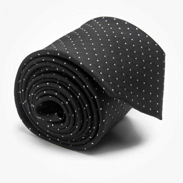 Krawat BLACK CLASSIC Marthu. Krawat żakardowy w kropki. Krawat czarny na wesele do garnituru. Modne krawaty