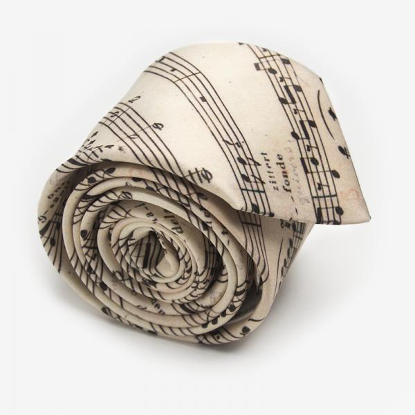 Krawat STRADIVARIUS Marthu. Krawat w nuty satynowy, partytura. Krawat muzyczny beżowy. Modne krawaty
